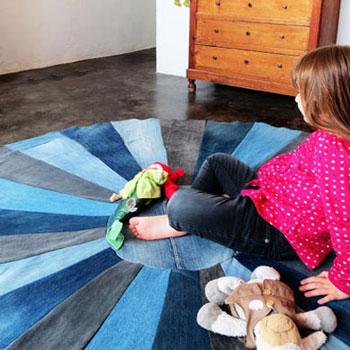 Kör alakú strapabíró szőnyeg farmer nadrágokból