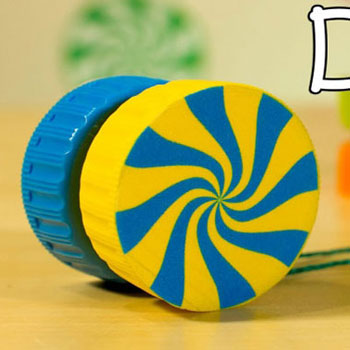 Jojó műanyag kupakokból - játékok újrahasznosítással