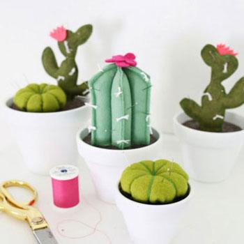 Kaktusz alakú tűpárnák filcből
