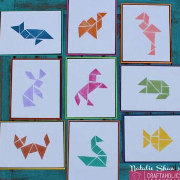 Faliképek formákból - tangram nyomda radírgumiból - puzzle