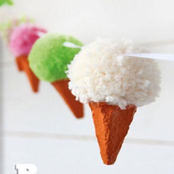 Fagyi füzér pomponból - játék fagylaltok