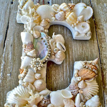 DIY seashell covered letters with rhinestones