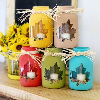 Colorful fall mason jar luminaries