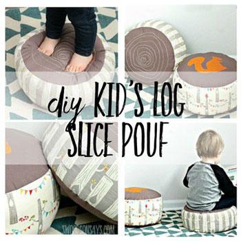 Erdei farönk alakú puffok gyerekeknek (szabásmintával)