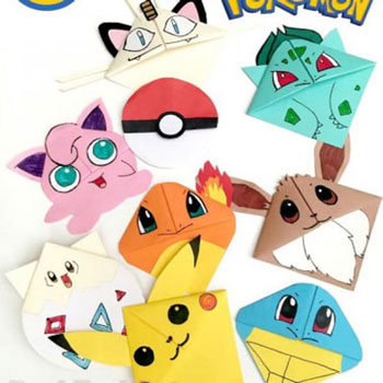 Origami pokemon bookmarks - paper folding for kids