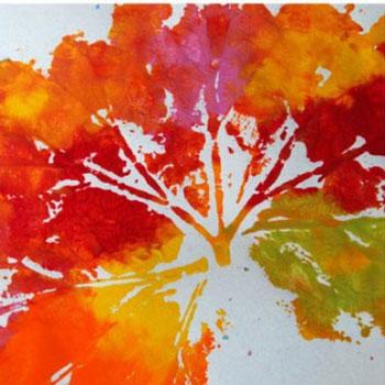 Gyönyörű faliképek őszi falevél lenyomatokkal