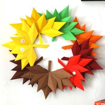 Origami falevél koszorú - falevelek papírhajtogatással egyszerűen