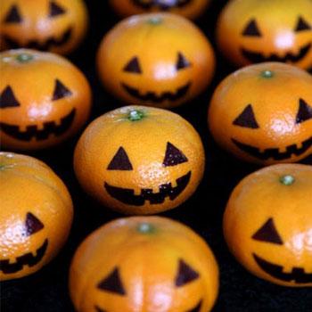 Halloween tökök mandarinból - egészséges desszertek