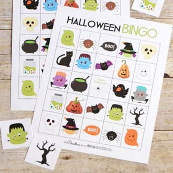 Halloween témájú nyomtatható bingó játék gyerekeknek