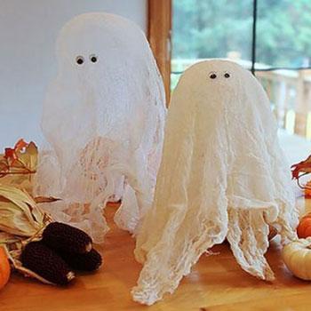 Lebegő szellemek - Halloween dekoráció géz anyagból