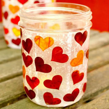 DIY heart lanterns with glass jars and fall leaves