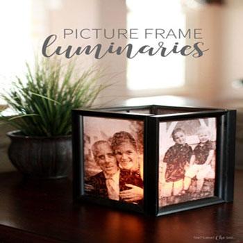 Fényképes mécsestartók képkeretekkel - dekoráció emlékekből