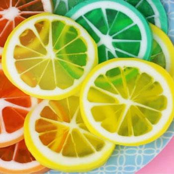 Citrom illatú citrom szelet gyümölcs szappanok házilag glicerinnel