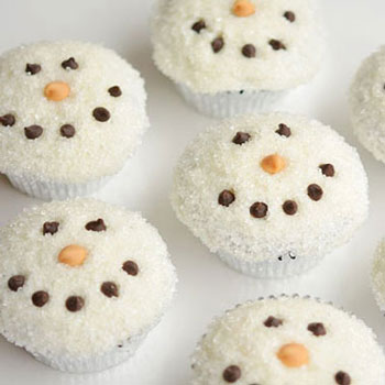 Sugar covered snowman face cupcakes - Christmas dessert