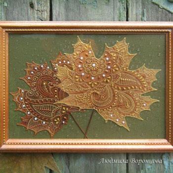 Gyönyörű őszi faliképek falevelekből üvegfestékkel