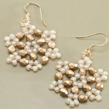 Beaded winter snowflake earrings ( jewelry making with beads )