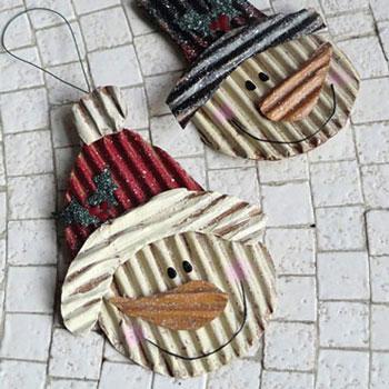 Hóemberek hullámkartonból egyszerűen - kreatív téli dekoráció