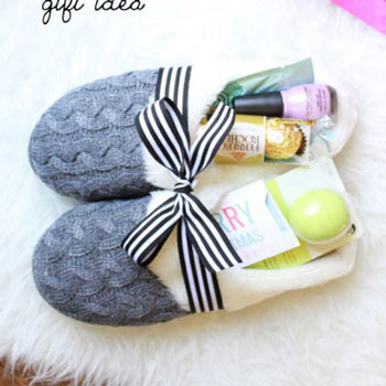 Pampering gifts in cozy slippers - creative gift package