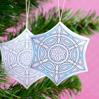 Térbeli színezhető karácsonyfadíszek (nyomtatható sablonnal)