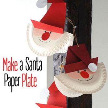 Papír tányér Télapó - kreatív ötlet gyerekeknek Mikulásra