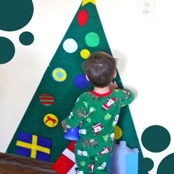 Díszíthető fali filc karácsonyfa gyerekeknek