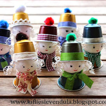 Coffee pod elf girls - adorable recycling Christmas craft for kids