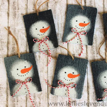 Snowman Christmas gift tags from denim jeans - repurpose