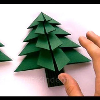 Origami karácsonyfák - karácsonyfadíszek papírhajtogatással