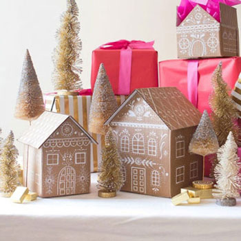 DIY gingerbread house gift or cake boxes from cardboard
