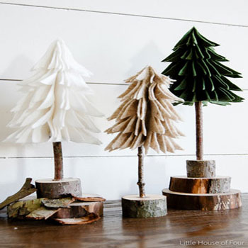 DIY rustic felt Christmas trees - easy Christmas decor