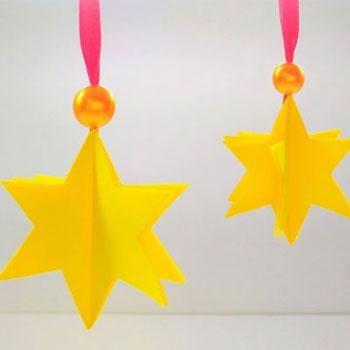 Egyszerű térbeli papír csillag - kreatív karácsonyi ötlet gyerekeknek