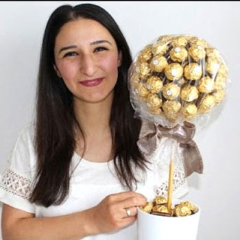 DIY Bonbon tree - creative gift with Ferrero Rocher chocholate balls