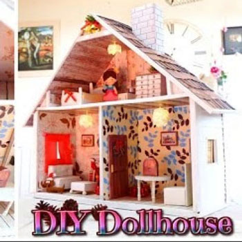 Handmade cardboard box dollhouse