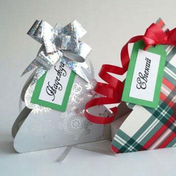 Karácsonyfa alakú díszdobozok - kreatív ajándék csomagolás