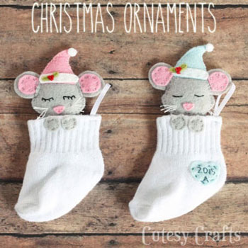 DIY baby sock Christmas tree ornaments with sleepy mice