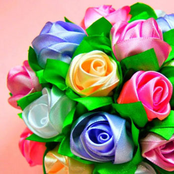 Gorgeous ribbon rose bouquet with kanzashi technique
