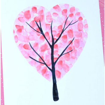 Szív fa - Valentin napi képeslap ujjlenyomatokkal