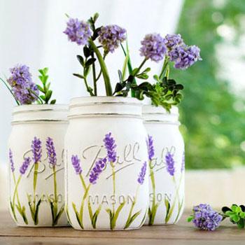 Levendula mintás váza befőttes üvegből - festés lépésről lépésre