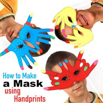 Egyszerű papír farsangi maszkok kézlenyomatokkal