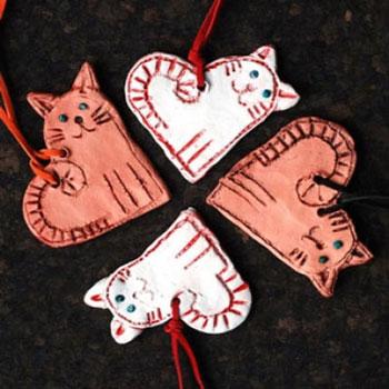 Szerelem cicák - szív alakú macska nyakláncok agyagból
