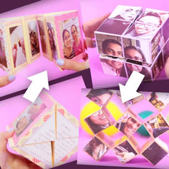 2 different magical folding photo cube - fun handmade gift