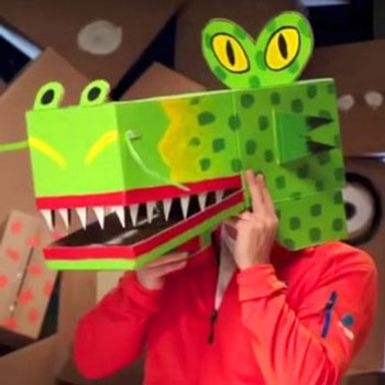 Easy cardboard box dragon mask - costume for kids