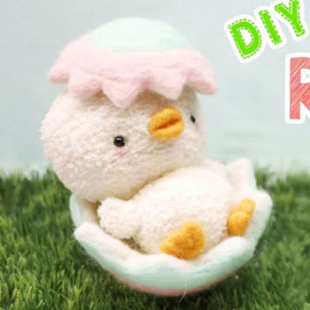 Cute Easter chick from a sock with needle felting (sock plushie)
