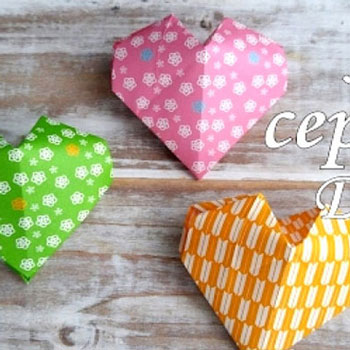 Origami paper Valentine's hearts - paper folding