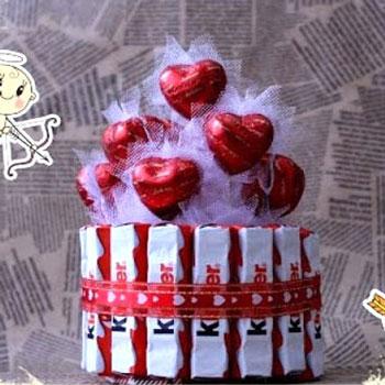 Kinder csoki és marcipán szív csokor torta házilag - kreatív ajándék