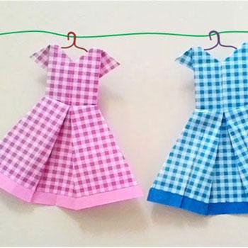 Színes nyári ruhák papírhajtogatással (origami)
