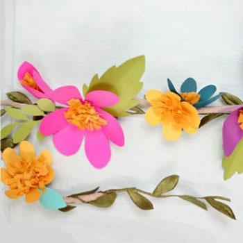 Egyszerű tavaszi virág füzér papírból ( nyomtatható sablonnal )