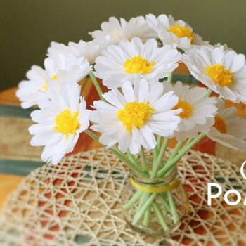 Krepp papír kamillák ( papír virág csokor ) - tavaszi dekoráció