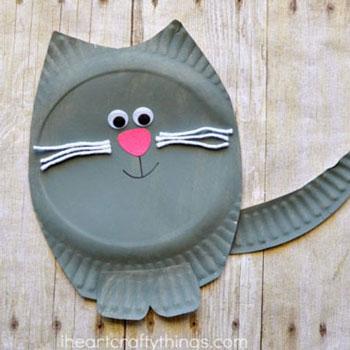 Papír tányér cica - macska papír tányérból gyerekeknek