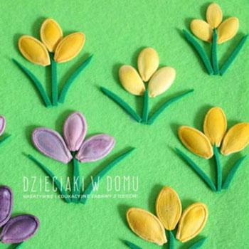 Tavaszi képeslap tökmag virágokkal - kreatív ötlet gyerekeknek